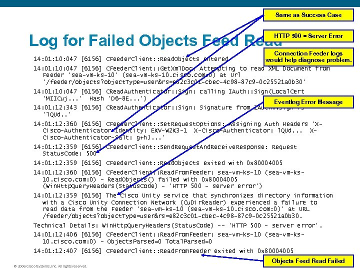 Same as Success Case Log for Failed Objects Feed Read HTTP 500 = Server