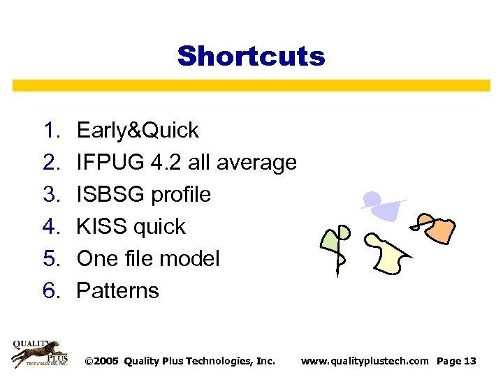 Shortcuts 1. 2. 3. 4. 5. 6. Early&Quick IFPUG 4. 2 all average ISBSG