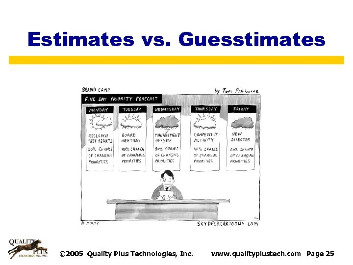 Estimates vs. Guesstimates © 2005 Quality Plus Technologies, Inc. www. qualityplustech. com Page 25