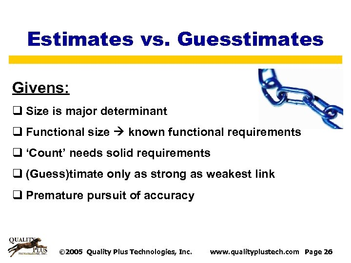 Estimates vs. Guesstimates Givens: q Size is major determinant q Functional size known functional