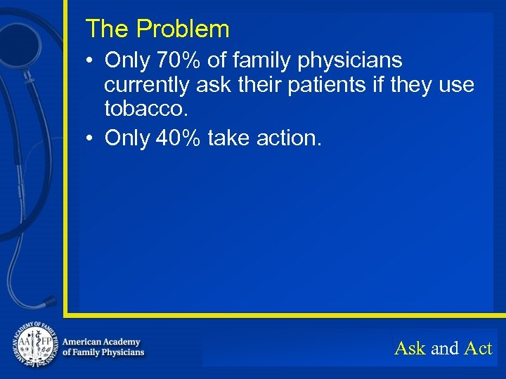 The Problem • Only 70% of family physicians currently ask their patients if they
