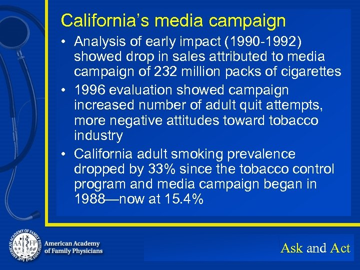 California's media campaign • Analysis of early impact (1990 -1992) showed drop in sales