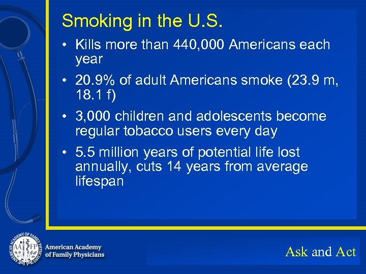 Smoking in the U. S. • Kills more than 440, 000 Americans each year