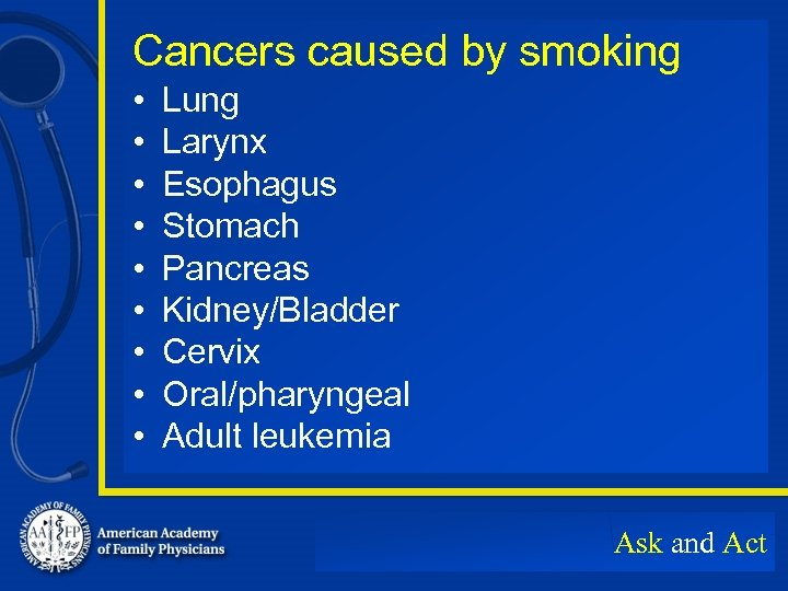 Cancers caused by smoking • • • Lung Larynx Esophagus Stomach Pancreas Kidney/Bladder Cervix