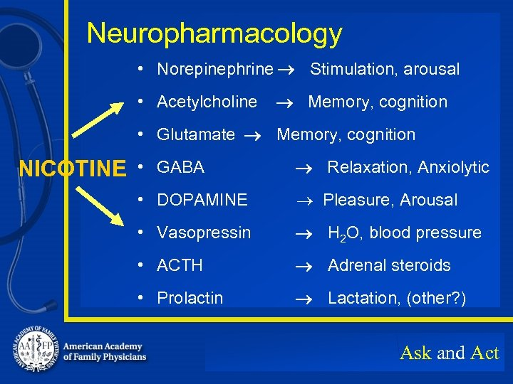 Neuropharmacology • Norepinephrine Stimulation, arousal • Acetylcholine Memory, cognition • Glutamate Memory, cognition NICOTINE