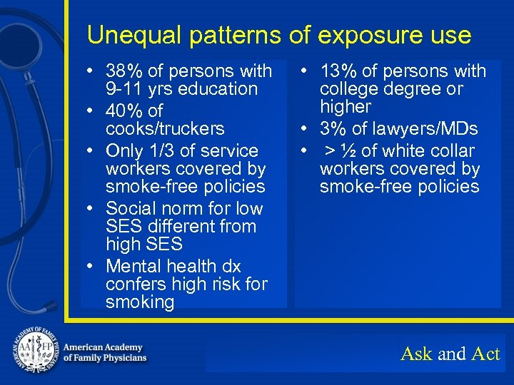 Unequal patterns of exposure use • 38% of persons with 9 -11 yrs education