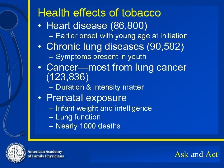 Health effects of tobacco • Heart disease (86, 800) – Earlier onset with young