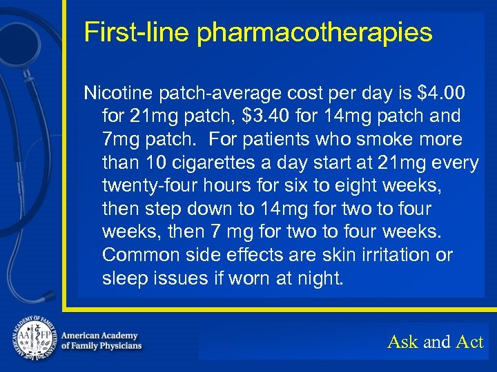 First-line pharmacotherapies Nicotine patch-average cost per day is $4. 00 for 21 mg patch,