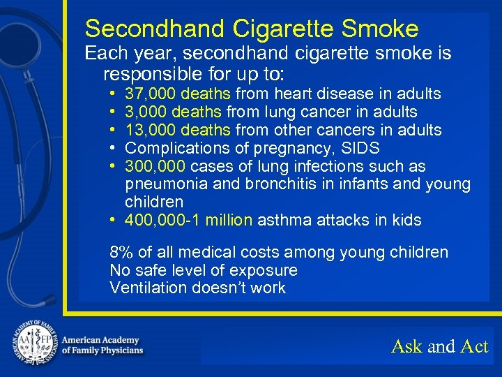Secondhand Cigarette Smoke Each year, secondhand cigarette smoke is responsible for up to: •