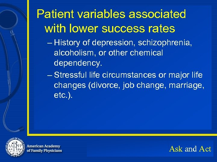 Patient variables associated with lower success rates – History of depression, schizophrenia, alcoholism, or