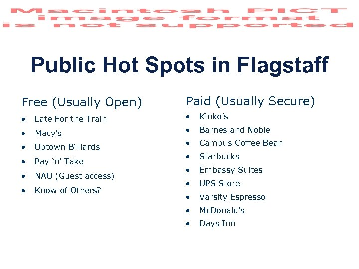 Public Hot Spots in Flagstaff Free (Usually Open) Paid (Usually Secure) • Late For