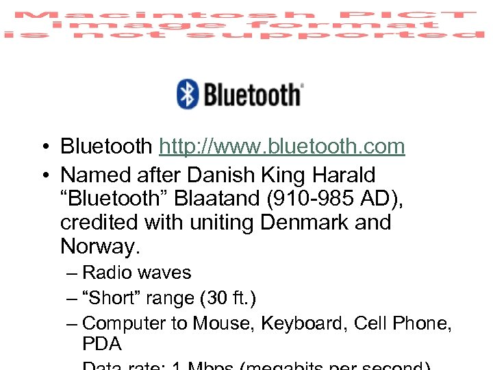 "• Bluetooth http: //www. bluetooth. com • Named after Danish King Harald ""Bluetooth"""
