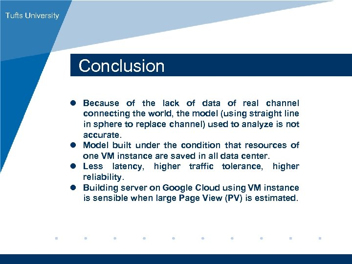 Tufts University Conclusion l Because of the lack of data of real channel connecting