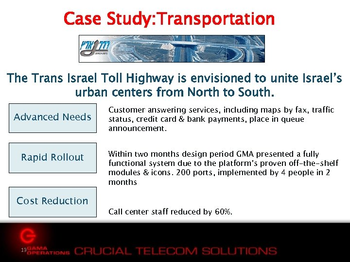 Case Study: Transportation The Trans Israel Toll Highway is envisioned to unite Israel's urban