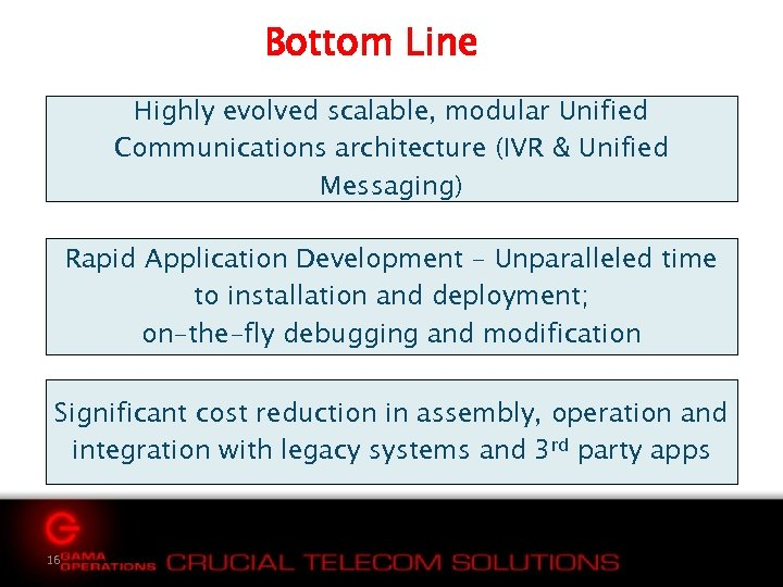 Bottom Line Highly evolved scalable, modular Unified Communications architecture (IVR & Unified Messaging) Rapid
