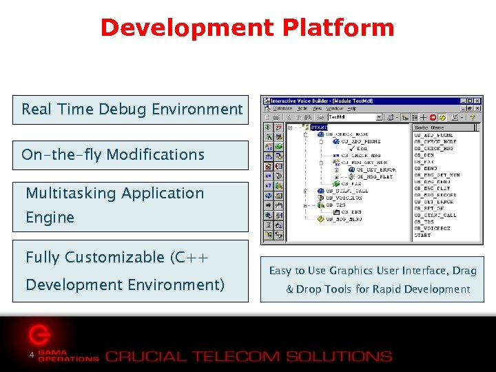 Development Platform Real Time Debug Environment On-the-fly Modifications Multitasking Application Engine Fully Customizable (C++