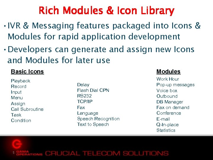 Rich Modules & Icon Library • IVR & Messaging features packaged into Icons &