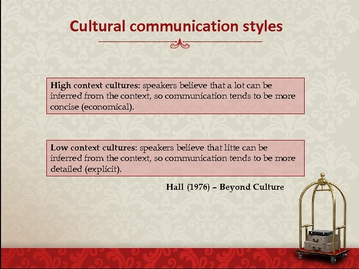 Cultural communication styles High context cultures: speakers believe that a lot can be inferred