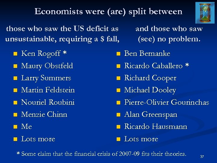 Economists were (are) split between those who saw the US deficit as unsustainable, requiring