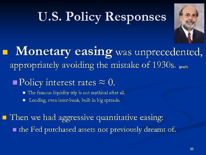 U. S. Policy Responses n Monetary easing was unprecedented, appropriately avoiding the mistake of