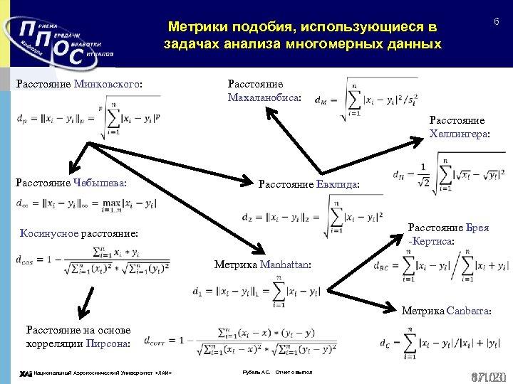 6 Метрики подобия, использующиеся в задачах анализа многомерных данных Расстояние Минковского: Расстояние Махаланобиса: Расстояние