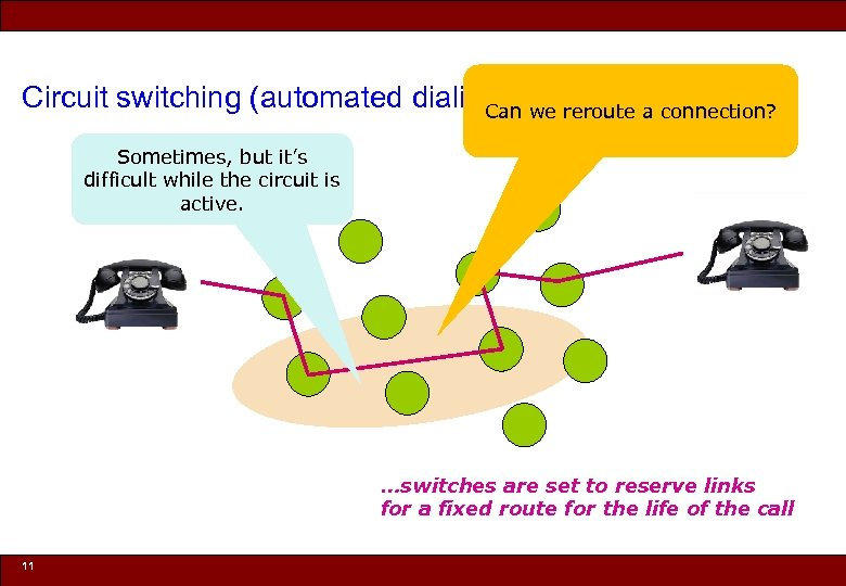Circuit switching (automated dialing) we reroute a connection? Can Sometimes, but it's difficult while