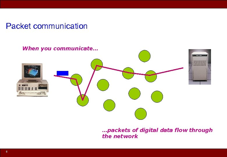 Packet communication When you communicate… …packets of digital data flow through the network 8