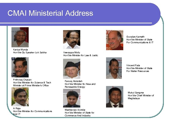 CMAI Ministerial Address Gurudas Kamath Hon'ble Minister of State For Communications & IT Kariya
