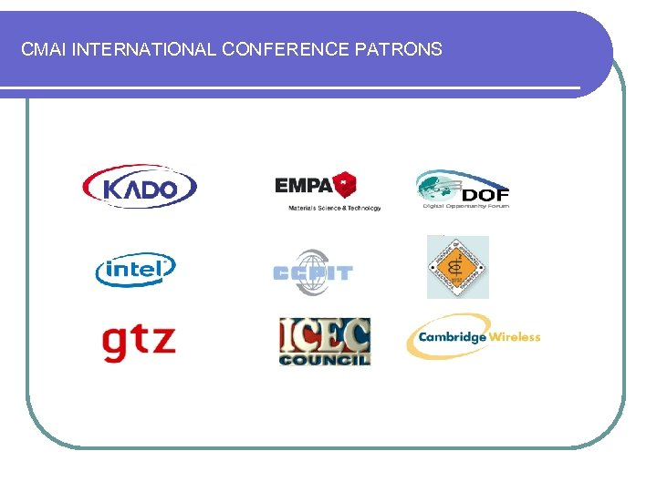 CMAI INTERNATIONAL CONFERENCE PATRONS
