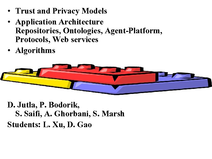 • Trust and Privacy Models • Application Architecture Repositories, Ontologies, Agent-Platform, Protocols, Web