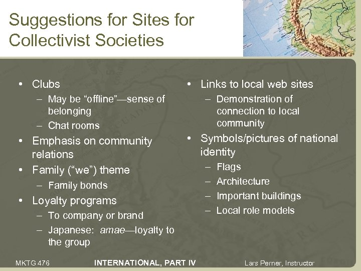 Suggestions for Sites for Collectivist Societies • Clubs • Links to local web sites