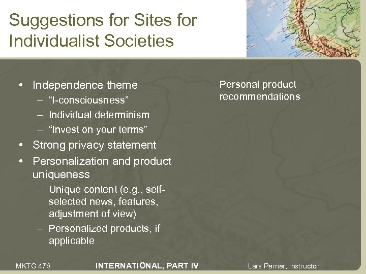 "Suggestions for Sites for Individualist Societies • Independence theme – ""I-consciousness"" – Individual determinism"