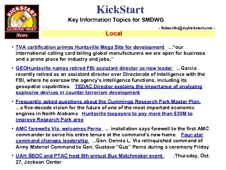 Kick. Start Key Information Topics for SMDWG Local - Subscribe@mykickstart. com - • TVA