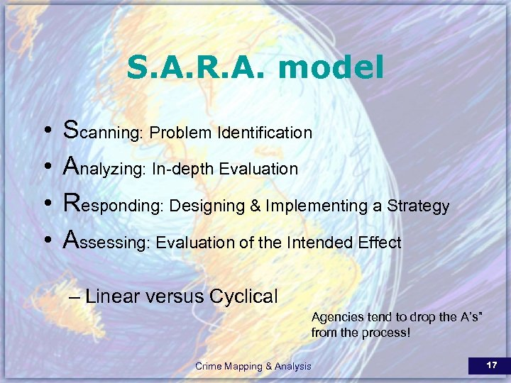 S. A. R. A. model • • Scanning: Problem Identification Analyzing: In-depth Evaluation Responding:
