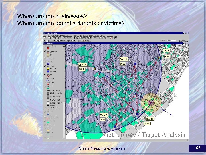 Where are the businesses? Where are the potential targets or victims? Victimology / Target