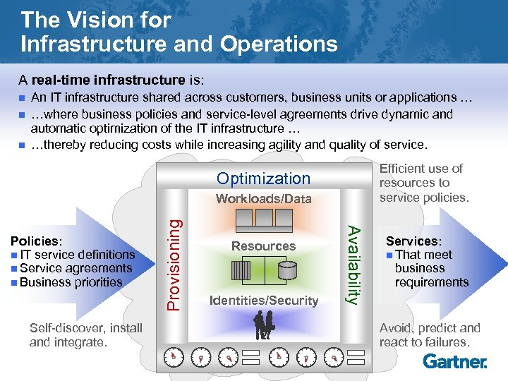 The Vision for Infrastructure and Operations A real-time infrastructure is: n n n An