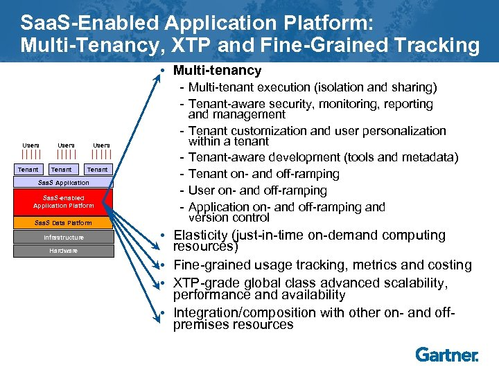 Saa. S-Enabled Application Platform: Multi-Tenancy, XTP and Fine-Grained Tracking • Multi-tenancy Users Tenant Saa.