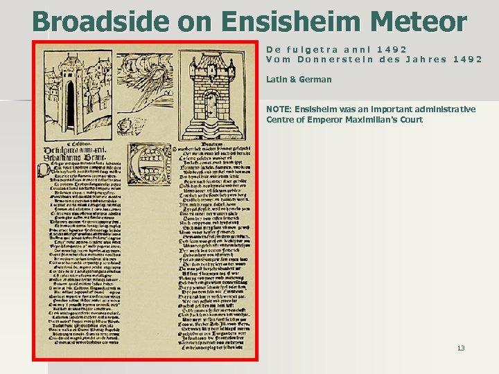 Broadside on Ensisheim Meteor D e f u l g e t r a