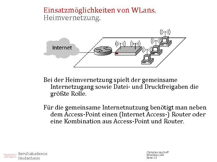 Einsatzmöglichkeiten von WLans. Heimvernetzung. Bei der Heimvernetzung spielt der gemeinsame Internetzugang sowie Datei- und