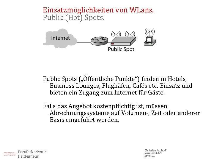 """Einsatzmöglichkeiten von WLans. Public (Hot) Spots. Public Spots (""""Öffentliche Punkte"""") finden in Hotels, Business"""