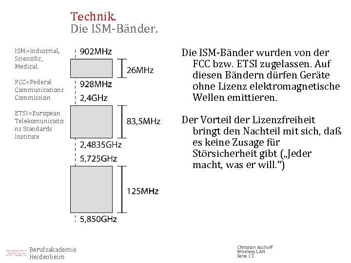 Technik. Die ISM-Bänder. ISM=Industrial, Scientific, Medical. FCC=Federal Communications Commission ETSI=European Telekomunicatio ns Standards Institute