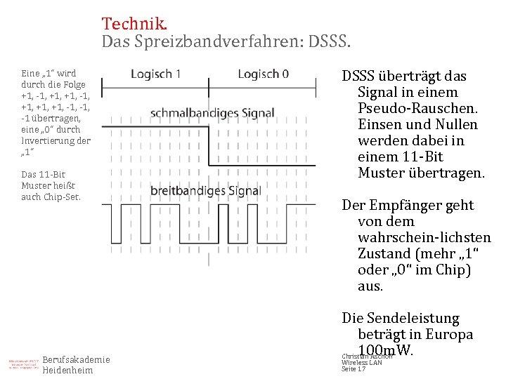 """Technik. Das Spreizbandverfahren: DSSS. Eine """" 1"""" wird durch die Folge +1, -1, +1,"""