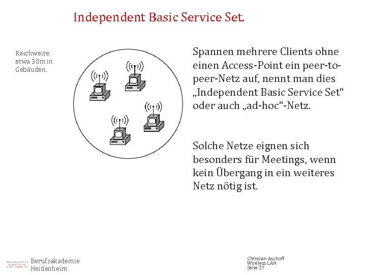 Independent Basic Service Set. Reichweite: etwa 30 m in Gebäuden. Spannen mehrere Clients ohne