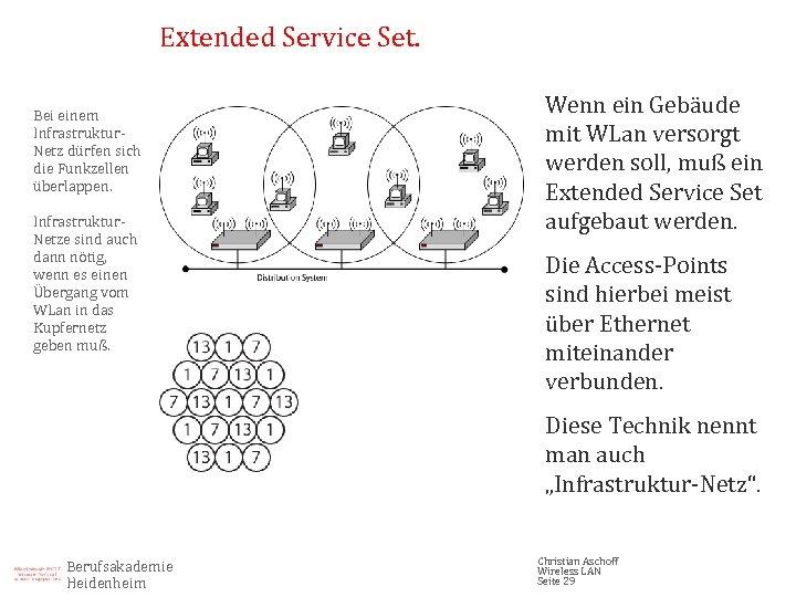 Extended Service Set. Bei einem Infrastruktur. Netz dürfen sich die Funkzellen überlappen. Infrastruktur. Netze