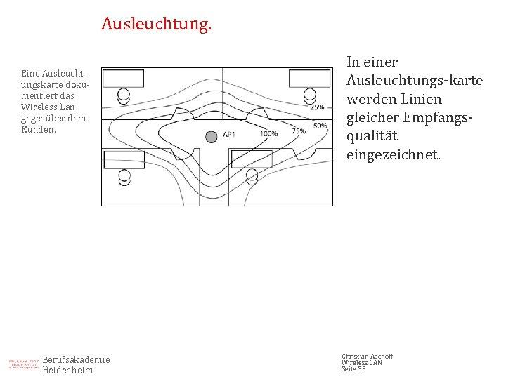 Ausleuchtung. Eine Ausleuchtungskarte dokumentiert das Wireless Lan gegenüber dem Kunden. Berufsakademie Heidenheim In einer