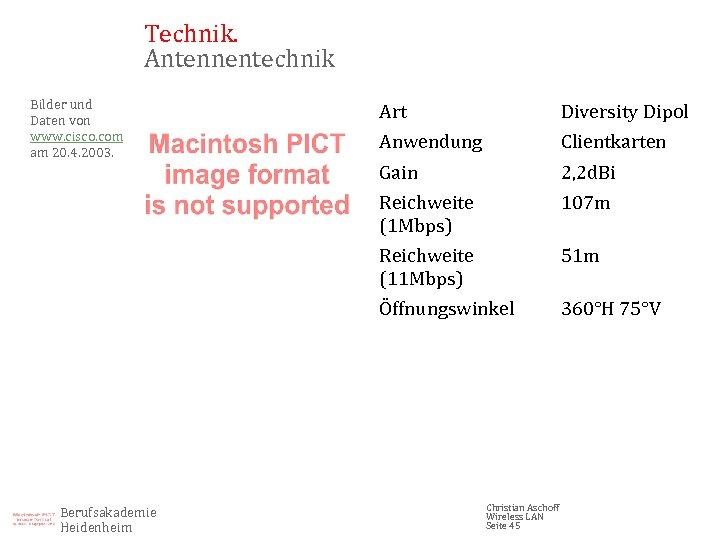 Technik. Antennentechnik Bilder und Daten von www. cisco. com am 20. 4. 2003. Diversity