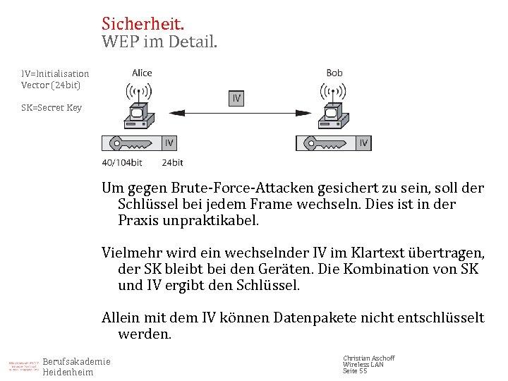Sicherheit. WEP im Detail. IV=Initialisation Vector (24 bit) SK=Secret Key Um gegen Brute-Force-Attacken gesichert