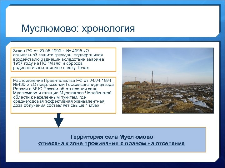 Муслюмово: хронология Закон РФ от 20. 05. 1993 г. № 4995 «О социальной защите