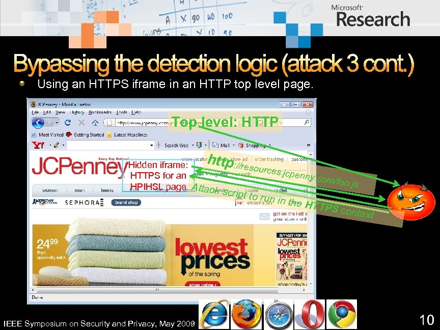 Bypassing the detection logic (attack 3 cont. ) Using an HTTPS iframe in an