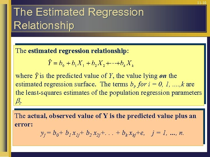 11 -10 The Estimated Regression Relationship The estimated regression relationship: relationship where is the